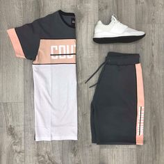 Tomboy Outfits, Nike Outfits, Short Outfits, Casual Outfits, Fashion Outfits, Polo Outfit, Outfit Grid, New Look Shorts, Mens Fashion Wear