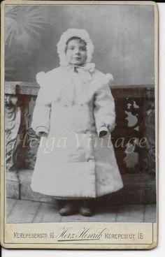 Antique Hungarian CDV/visit card, little girl in winter coat Herz Henrik BUD Dresden Germany, Stunning Eyes, American Civil War, Old Antiques, Elegant Woman, Winter Coat, Bud, Vintage Photos, Little Girls