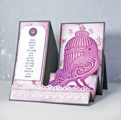 Tri step card with embossed embellishments. Made for Paperilla paper crafting magazine.