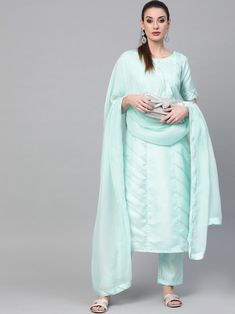 Impressive sea green silk blend salwar kameez style with striped embroidery also comes with silk blend bottom and organza dupatta. Indian Dresses Online, Salwar Suits Online, Lehenga Style, Girl Photography Poses, Green Silk, Green Stripes, Salwar Kameez, Fashion Dresses, Sea