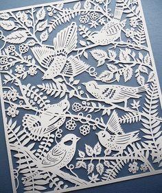 Wild Birds - 8x10 Print of Original Papercut Illustration