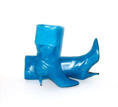 Vintage FOLDOVER BOOTS Bright Blue Leather Stilettos 10
