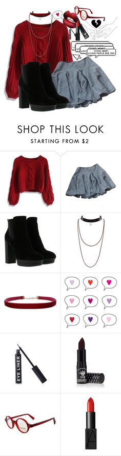 """""""ITS NOT EVEN FEBRUARY YET 😤"""" by kawaiireborn ❤ liked on Polyvore featuring Chicwish, DK, Hogan, Humble Chic, Stargazer, Manic Panic NYC, SocialEyes and NARS Cosmetics"""
