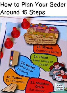 How to Plan Your Seder Around 15 Steps. New! A game + activity + learning resource that makes your family Seder more fun, more engaging for everyone at your table. http://www.amazon.com/Jewish-Holidays-in-Box-Follow-Along/dp/B00IKGMOC8/ref=sr_1_1?ie=UTF8&qid=1422448480&sr=8-1&keywords=passover+seder+steps