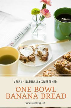 This banana bread is delicious, wholesome, naturally sweetened, and takes 10 minutes to throw together! Gourmet Recipes, Whole Food Recipes, Vegetarian Recipes, Dessert Recipes, One Bowl Banana Bread, Vegan Banana Bread, Healthy Desserts, Healthy Recipes, Vegan Sweets