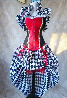 Military circus/Queen of Hearts corset ready to by AliceAndWillow