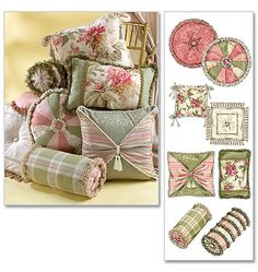 Love these pillows with their mix of fabrics and textures...may try this!