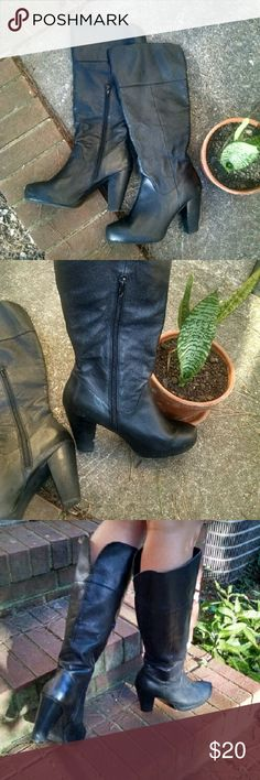 """Black knee high boots Leather upper, 3.5"""" heel. I bought two pairs of black leather knee high boots so I'm selling one of them. There's a little wear on the heel,  and these are really comfy, it was a tough choice! Shoes Heeled Boots"""