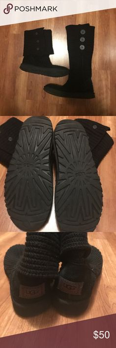 Black Cardy Uggs Used but in very good shape. Nothing wrong but a little worn. Can be worn up or down. Very comfy and stylish.  Fur on inside of shoes is also in very good condition but I couldn't get a good picture. Soles are also in amazing shape(as seen in pics). UGG Shoes Winter & Rain Boots