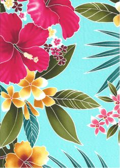 Ukuhi - Vintage Style Tropical Botanical Vintage Hawaiian Fabric Hawaiian Fabrics For Sewing Home Decor, Furniture Upholstery and Apparel T44/45 Wide, All-Over. Stylized, multi-colored hibiscus, plumeria, orchids and ferns.