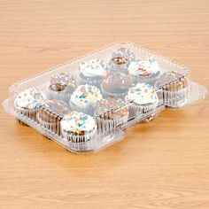 Polar Pak 02200 12 Compartment Clear OPS Hinged Mini-Muffin or Mini-Cupcake Container - 20/Pack