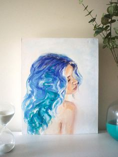 """This is an original oil painting on canvas titled """"Riviera"""". Dimensions: x or x Signed """"Melinda AK"""" along the hair on left hand side Canvas has slight dents top right hand corner as seen in images. River Painting, Oil Painting On Canvas, Watercolour Hair, Female Portrait, Blue Hair, Pop Art, Original Art, Wall Decor, The Originals"""