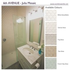 Use our 6th Avenue, Julia Mosaic as a shower feature wall! Available in a variety of colours at World Mosaic Tile in Vancouver. www.worldmosaictile.com