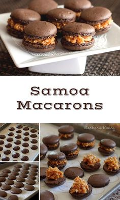 Macarons A luscious chocolate macaron filled with caramel and toasted coconut.A luscious chocolate macaron filled with caramel and toasted coconut. Baking Recipes, Cookie Recipes, Dessert Recipes, Baking Desserts, Frosting Recipes, Baking Tips, Just Desserts, Delicious Desserts, Finger Desserts