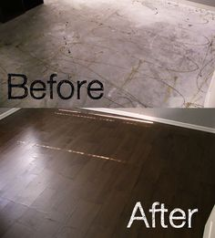 frugal floor - this is just amazing. Looks like a wood floor but done with brown paper, stain, and poly! Aprox cost $80 with enough to do another room in her house. very awesome! I think the stain makes all the difference in these paper bag floors.