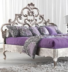 very ornate furniture  | Paris Collection Rococo silver headboard
