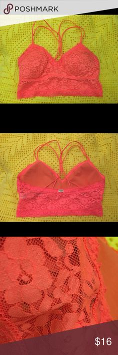 Gilly Hicks Bralette ‼️SALE‼️ NWOT / Bright orange color / Has lightly lined cups that can easily be removed / No adjustable straps / Very nice detailing / Perfect condition / The last picture shows the exact color Gilly Hicks Intimates & Sleepwear Bras