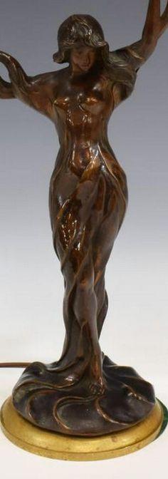 96: French Art Nouveau bronze & shell lamp - Nov 28, 2012 | Antiques Show in FL Mermaid Lamp, Art Nouveau, Shell Lamp, Bronze, French Art, Shells, Statue, Antiques, Baby Newborn