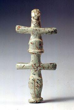 Double cruciform figurine  picrolite  Chalcolithic period  3900-2500 BC