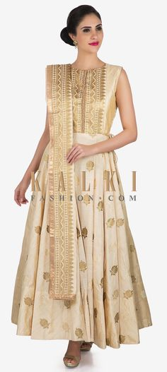 Buy Online from the link below. We ship worldwide (Free Shipping over US$100)  Click Anywhere to Tag Off-white anarkali suit in silk showcasing the heavy zari embroidery work only on Kalki