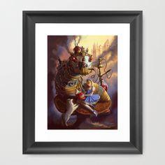 Sandra's Steampunk Alice in Wonderland Framed Art Print