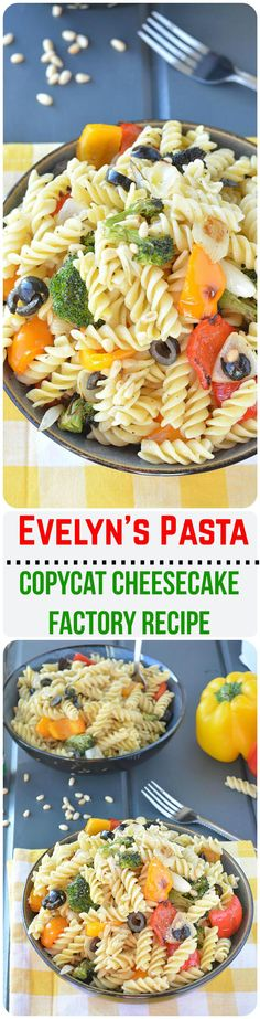 Step by step Veggie Pasta Salad. Copycat recipe Cheesecake Factory Evelyn's Favorite Pasta is packed with fresh veggies is a healthy, quick and simple dish Vegetarian Platter, Vegetarian Recipes, Healthy Recipes, Healthy Side Dishes, Side Dishes Easy, Indian Food Recipes, Asian Recipes, Veggie Pasta, Pasta Salad