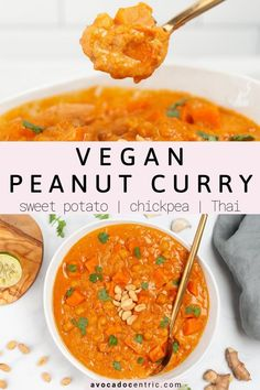 This vegan peanut curry is the best because it's healthy, plant based, made in one pot, and so easy to make! In addition, it's quick, gluten free, made with coconut milk, chickpeas, sweet potato, and perfect for meal prep! This chickpea and sweet potato curry is perfect to enjoy by itself or with a side of rice. It is cozy, warming, hearty, and also uses mostly pantry staples. This Thai inspired curry is perfect for weeknight dinners. #veganpeanutcurry #curry #easy #healthy #vegandinner… Weeknight Dinners, Vegan Dinners, Healthy Dinner Recipes, Whole Food Recipes, Vegetarian Recipes, Chickpea Recipes, Curry Recipes, Asian Recipes, Beef Recipes