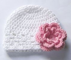 White with pink flower crcochet beanie