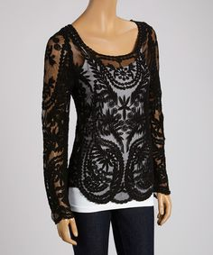 Take a look at the Banana U.S.A. Black Sheer Floral Lace Scoop Neck Top on #zulily today!