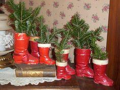 Vintage santa boot collectio