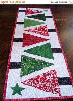 Quilted Table Runner Modern Christmas Trees, narrow runner red and green patchwork, bright and festive runner for your home decor  Made from the book Angles with Ease by Anka's Treasures.