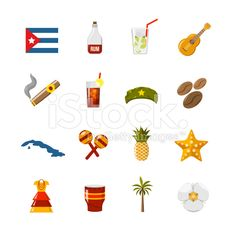Flat Color Isolated Cuba Icons royalty-free stock vector art