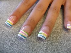 Rainbow Striped Nail Tips fashion nails stripes polish summer nails manicure