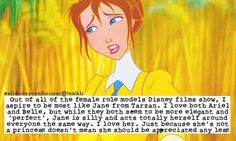 """""""Out of all of the female role models Disney films show, I aspire to be most like Jane from Tarzan...."""""""