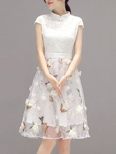 Fancy Band Collar Floral Hollow Out Skater Dress - in white, white dress , girl dress , (affiliate)