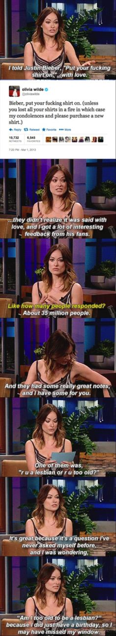 LOL! Olivia Wilde about Justin Bieber