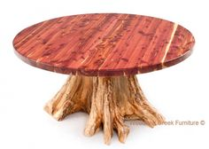 Round Red Cedar Log Dining Table available in custom sizes to fit your home by Woodland Creek Furniture. Barnwood Dining Table, Cedar Table, Log Table, Tree Stump Table, Rustic Table, Dining Tables, Cedar Furniture, Rustic Furniture, Dining Furniture