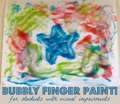 Bubbly finger paint is a great sensory activity for children with visual impairments or multiple disabilities!