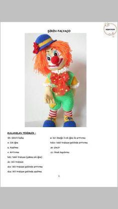PALYAÇO Baby Patterns, Doll Patterns, Knitting Patterns, Crochet Patterns, Crochet Teddy, Crochet Bear, Knitted Dolls, Crochet Dolls, Amigurumi For Beginners