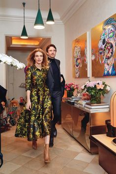 Natalia Vodianova wears an Erdem dress; Hermès boots; Cécil ring and earrings. Antoine Arnault wears his own clothes.