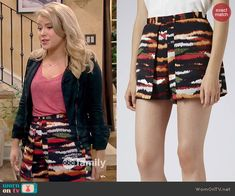 Lennox's tiger stripe printed shorts on Melissa and Joey.  Outfit Details: http://wornontv.net/46398/ #MelissaandJoey