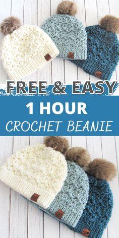 Diy Crochet Hat, Crochet Beanie Pattern, Crochet Winter, Crochet Scarves, Crochet Crafts, Free Crochet Hat Patterns, Crochet Toddler Hat, Chunky Crochet Hat, Crochet Kids Hats