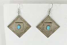 Turquoise and stamped sterling silver wire earrings