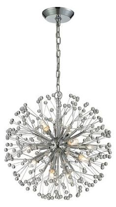 Light up any room with the glistening Elk Lighting Starburst Chandelier. The beautiful chandelier features groupings of faceted crystal balls and larger metal offshoots which extend from the center orb emulating an exploding celestial body. Luxury Chandelier, Sputnik Chandelier, Chandelier Lighting, Faceted Crystal, Crystal Ball, Multi Luminaire, Elk Lighting, Chrome Finish, Polished Chrome