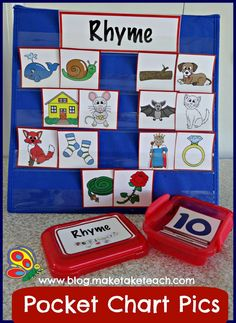 Pocket Chart Pictures!  Over 200 colorful pictures for teaching rhyme, syllables, and beginning sounds.