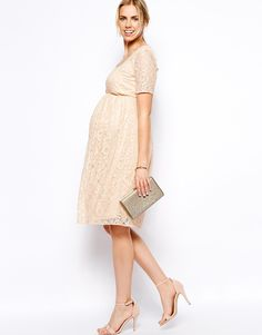 Image 4 ofASOS Maternity Exclusive Lace Midi Dress With Button Back