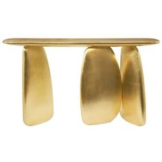 Gold Pebble Console with Gold Leaf ($11,655) ❤ liked on Polyvore featuring home, furniture, handpainted furniture, gold leaf console, gold furniture, gold leaf furniture and gold console
