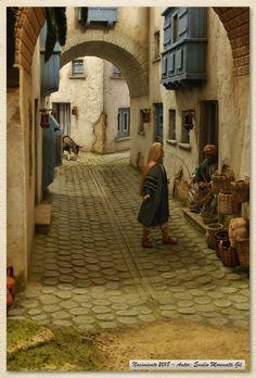 Visita la entrada para saber más Christmas Nativity Scene, Christmas Villages, Stone Houses, Old Art, Book Nooks, Sculpture Art, Geometric Shapes, Miniatures, Wallpaper