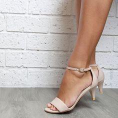 Nude leather Kitten Heel Ladies shoes. Low heels. by ForeverSoles