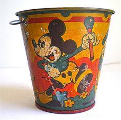 Mickey Mouse Donald Duck Disney Vintage Pail by dottirosestudio, $49.95